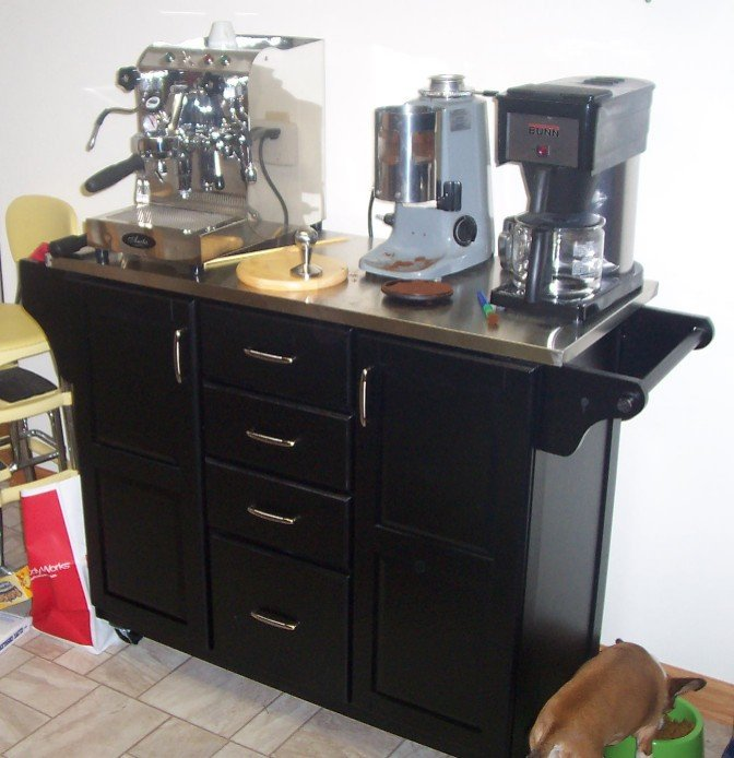Cluttered kitchen counters espresso machines for Coffee cart for home