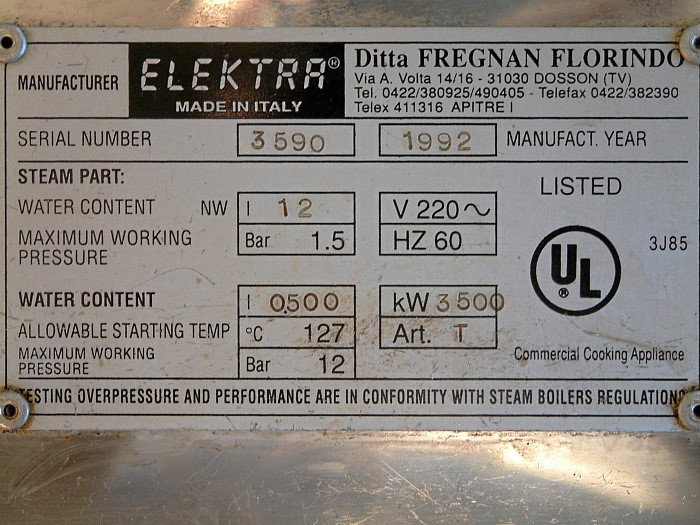 New Owner Of An Elektra 2 Group Commercial Machine For