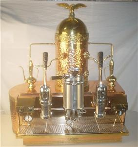 Up For Auction Is This Commercial Cappuccino And Espresso Machine Made By ABC It Of Copper Brass Beautiful Hammered Design Nicely