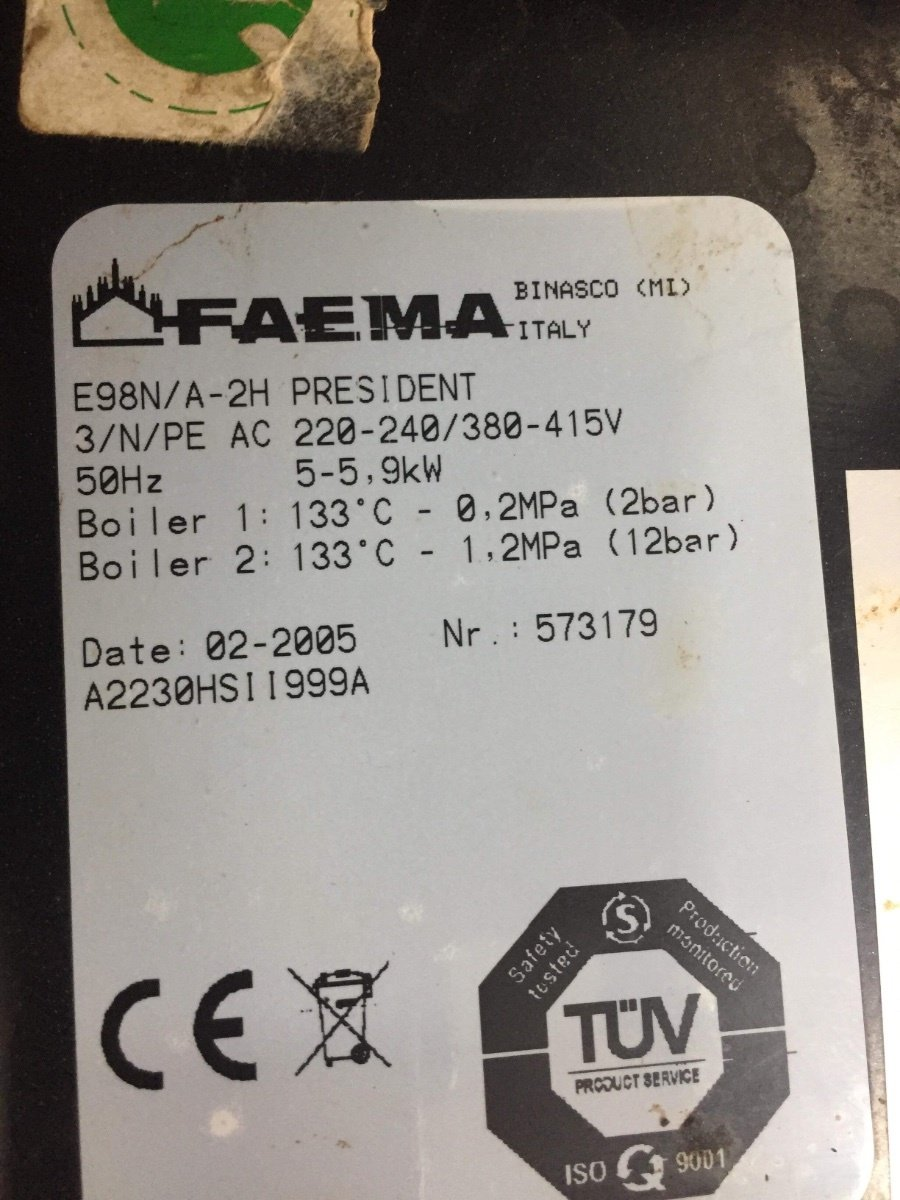 Faema E98 President Three Phase To Single Phase
