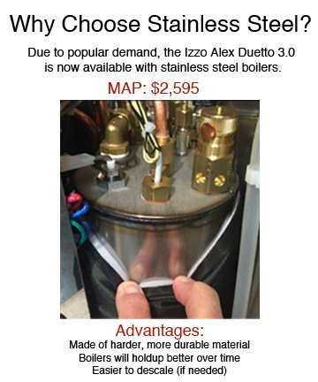 New Izzo Duetto With Stainless Steel Boilers